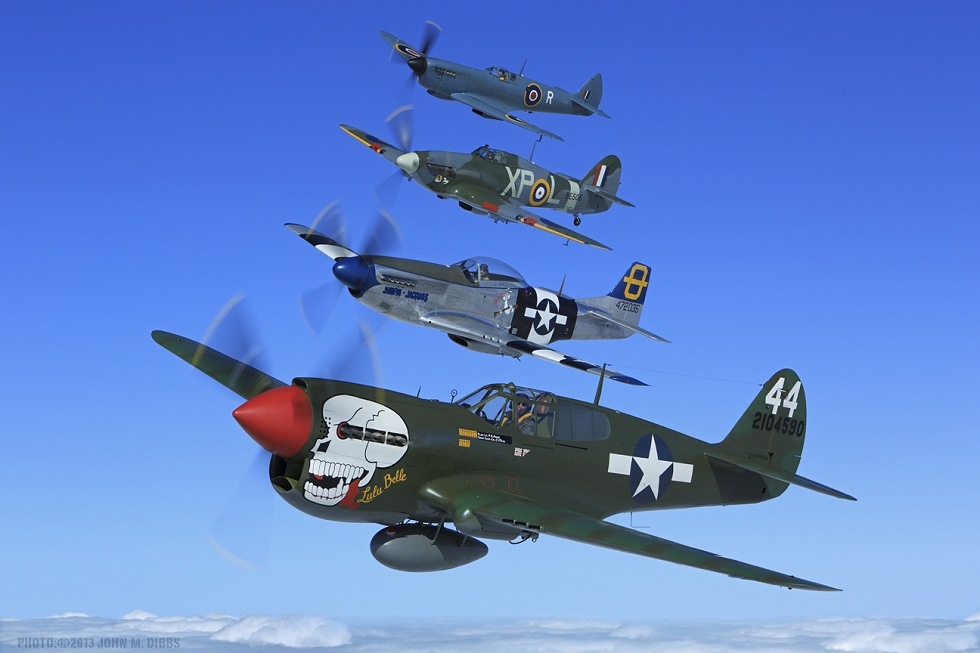 The Hangar 11 Collecrion fighters airborne together in October 2013. Photo by John Dibbs