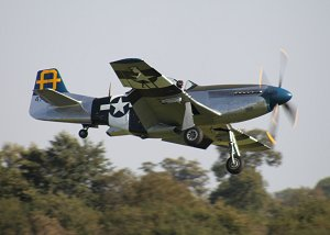 Peter brings the P-51 in to land at Old Warden